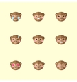minimalistic flat monkey emotions icon set vector image