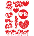 romantic red love heart elements set vector image