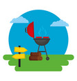 barbecue grill sausages wooden vector image