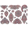 Big set of colorful henna floral elements vector image vector image