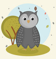 cartoon owl wild animal with falling leaves vector image