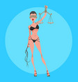 cartoon sexy woman themis in lingerie with scales vector image