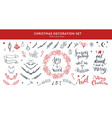 christmas decoration hand drawn set set vector image vector image