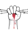 clenched fist hand in blood with barbed wire vector image vector image
