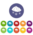 Clouds and snow set icons vector image vector image