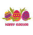 colored eggs and plant leaves happy easter wish vector image vector image