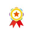 colorful rosette with ribbon bright award medal vector image vector image