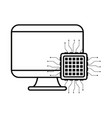 computer motherboard circuit white background vector image