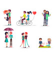 concept of happy lovely girl and boy together vector image