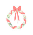 elegant floral wreath with red ribbon vector image vector image