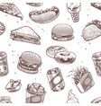 fast food seamless pattern hot dog hamburger and vector image