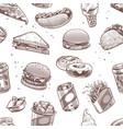 fast food seamless pattern hot dog hamburger vector image