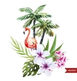 Flamingo with palms and flowers vector image vector image
