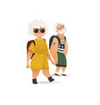 flat elderly couple traveller holding hands vector image