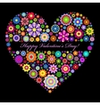 floral valentines heart on black background vector image