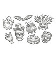 halloween symbol set hand drawn vintage vector image