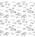 Hand drawn fish pattern vector image vector image