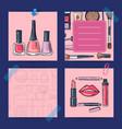 hand drawn makeup products nail polishes vector image vector image