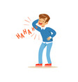 happy boy in a blue pullover laughing out loud vector image vector image
