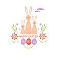 happy easter card bunnies family vector image vector image