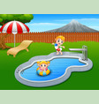 happy kids playing in swimming pool vector image vector image