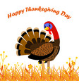 happy thanksgiving day card with cartoon turkey vector image