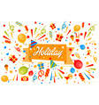 holiday banner with gift boxes balloons ice vector image vector image