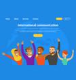 international communication landing page template vector image