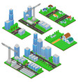 isometric buildings and building constructions vector image vector image