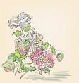 japanese chinese design ink flower engraved vector image