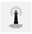 lighthouse navigation logo vintage on white vector image vector image