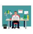 man sitting on red chair in office businessman vector image vector image