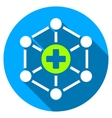 Medical Network Flat Round Icon with Long Shadow vector image vector image
