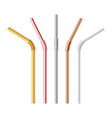 metal drinking straw gold silver and steel vector image vector image