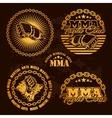 MMA mixed martial arts emblem badges - set vector image vector image