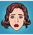 Retro Emoji sadness woman face vector image vector image