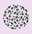 round leaves berries flowers pattern vector image