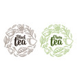 set with lettering black green tea vintage vector image vector image