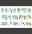 smiling people in pharmacy choosing and buying vector image vector image