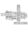 specification word cloud concept vector image vector image