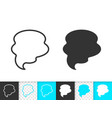 speech bubble simple black line banner icon vector image