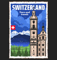swiss alps switzerland and jesuit church vector image