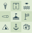 travel icons set with sea tent medicine and vector image vector image