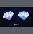 two realistic faceted diamond gemstones vector image