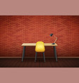 workplace wood table top with chair vector image