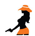 girl silhouette with gun vector image