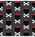 Skull with a bow seamless pattern background vector image
