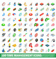 100 time management icons set isometric 3d style vector image vector image
