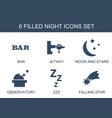 6 night icons vector image vector image
