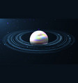 abstract blue planet with rings design of a deep vector image